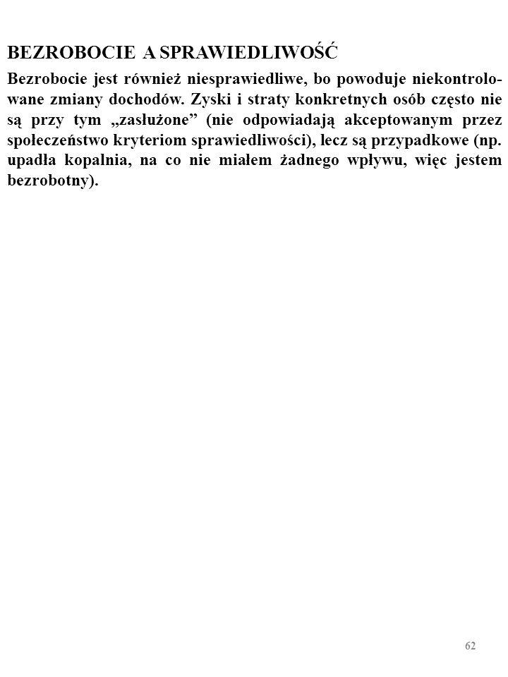 PRZYKŁAD: Według wyliczeń Mieczysława Kabaja z IPiSS w Warszawie np. wzrost bezrobocia w Polsce w latach 1999–2002 o 1,3 mln osób spowodował utratę PK