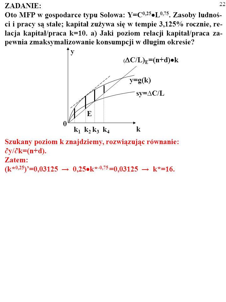 21 ZADANIE: Oto MFP w gospodarce typu Solowa: Y=C 0,25 L 0,75. Zasoby ludnoś- ci i pracy są stałe; kapitał zużywa się w tempie 3,125% rocznie, re- lac