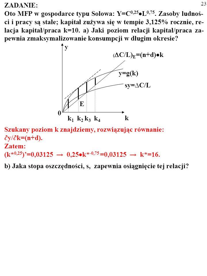 22 ZADANIE: Oto MFP w gospodarce typu Solowa: Y=C 0,25 L 0,75. Zasoby ludnoś- ci i pracy są stałe; kapitał zużywa się w tempie 3,125% rocznie, re- lac