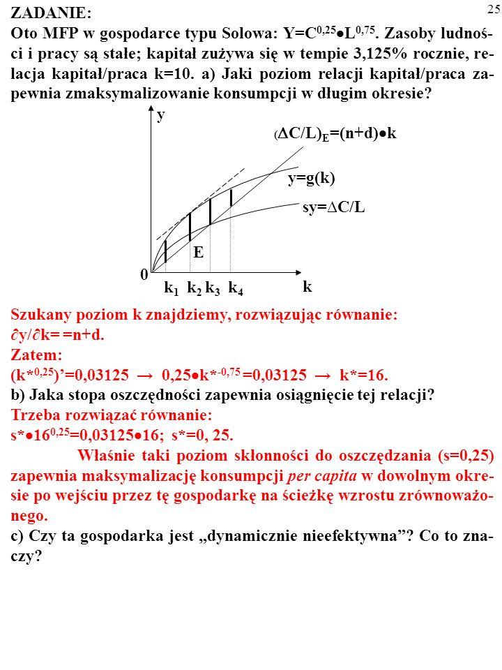 24 ZADANIE: Oto MFP w gospodarce typu Solowa: Y=C 0,25 L 0,75. Zasoby ludnoś- ci i pracy są stałe; kapitał zużywa się w tempie 3,125% rocznie, re- lac
