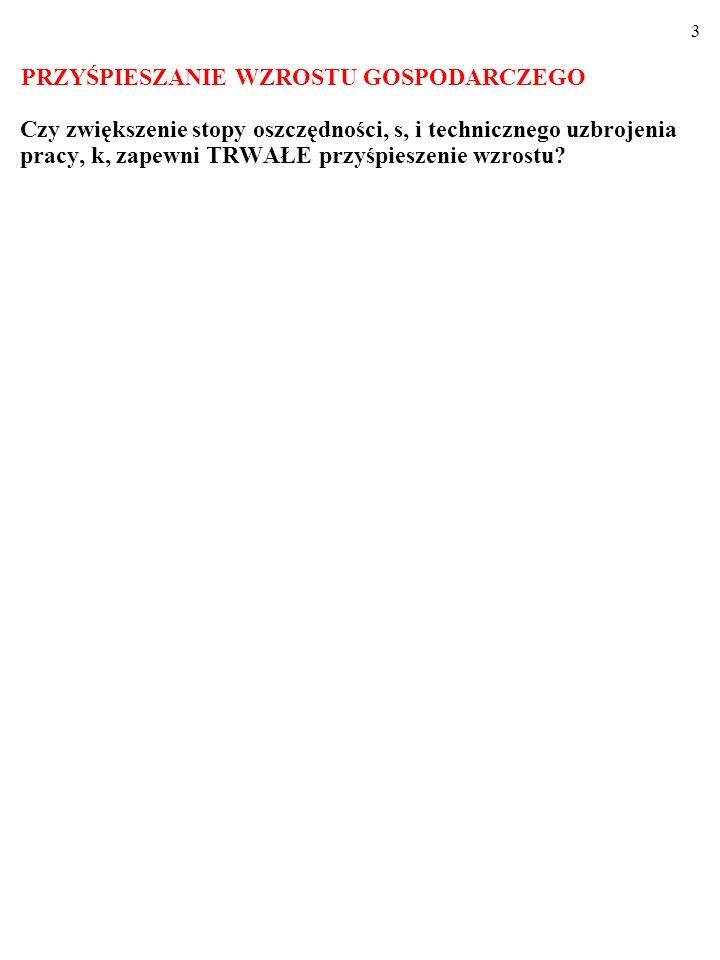 23 ZADANIE: Oto MFP w gospodarce typu Solowa: Y=C 0,25 L 0,75.