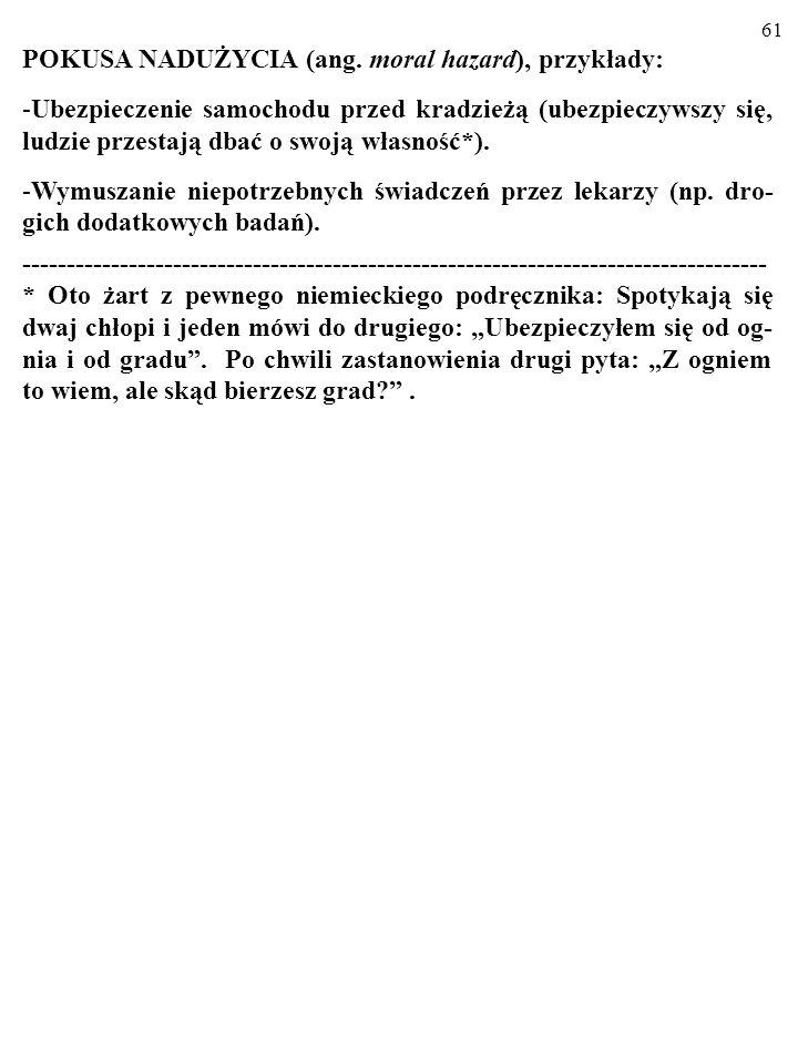 60 B. ASYMETRIA INFORMACJI: UKRYTE DZIAŁANIA (ang. hidden actions). Jedna ze stron transakcji po zawarciu umowy zmienia swoje zachowanie w sposób niek