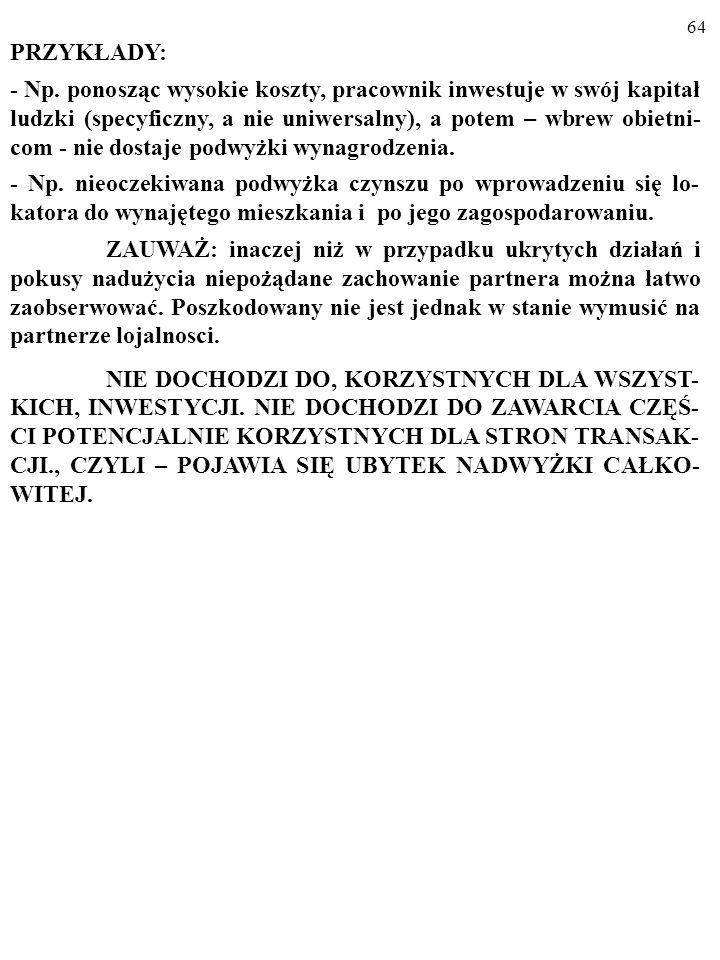 63 C. ASYMETRIA INFORMACJI - UKRYTE ZAMIARY (ang. hidden intentions) [PROBLEM NAPADU RABUNKOWEGO (ang. hold up problem)]. Jedna ze stron zmienia inter