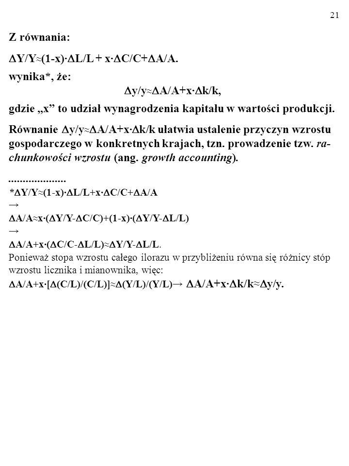 20 A zatem: Y=A·f(L,C) Y/Y (1-x)· L/L + x· C/C + A/A. To się nazywa DEKOMPOZYCJA SOLOWA. Dekom- pozycja Solowa ujawnia wkład poszczególnych przyczyn (