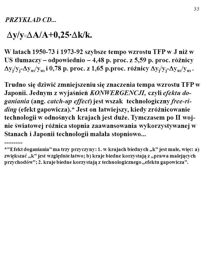 32 OKRES 1950-1973 Różnica k j /k j - k us /k us tłumaczy 1,11 p. proc. z 5,59 p.proc. róż- nicy y j /y j - y us /y us (z grubsza jedną piątą). OKRES