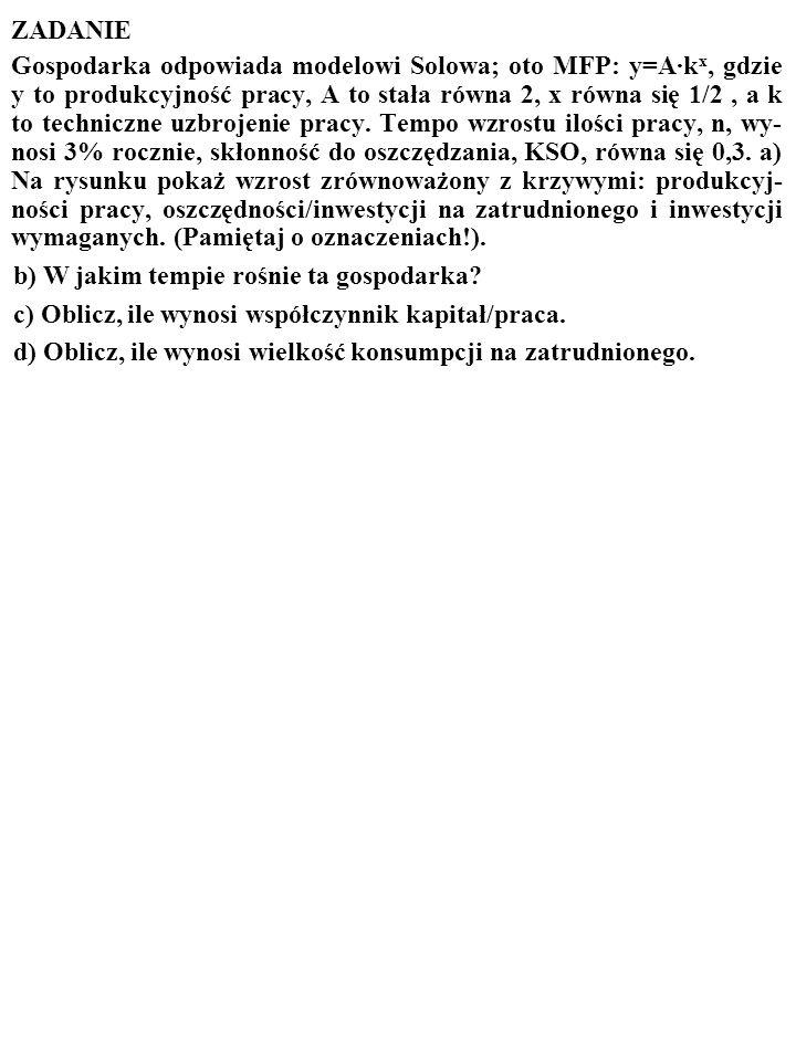 57 Innymi słowy Solow dowiódł, że proces wzrostu jest STABILNY. Gospodarka AUTOMATYCZNIE OSIĄGA STAN, W KTÓRYM WZROST JEST ZRÓWNOWAŻONY, I TRWA W TYM