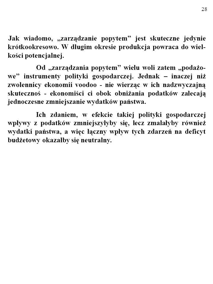 27 Jednak część zaleceń zwolenników ekonomii podażowej okazała się słuszna. Np. w latach 80. XX w. w USA w wyniku tzw. DERE- GULACJI, czyli po uwolnie