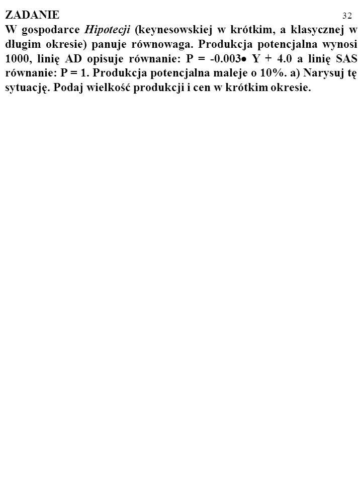 31 Długookresowe zmiany zagregowanego popytu i podaży (USA) MODEL AD/AS W DZIAŁANIU; cd... Oto zachowanie gospodarki amerykańskiej po 1970 r. opisane
