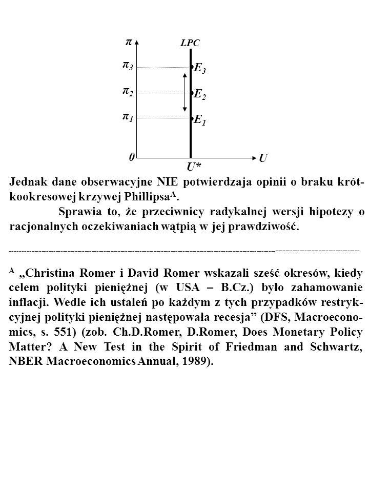 86 Zreasumujmy... Zgodnie z RADYKALNĄ wersją hipotezy o racjonalnych oczekiwaniach nie istnieje tzw. KRÓTKOOKRESOWA KRZYWA PHILLIPSA (ang. short run P