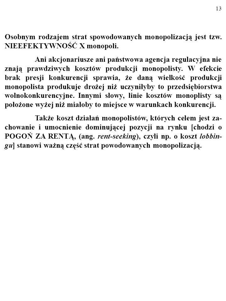 12 MC, MR, P MC 0 DD Q A QCQC MR To, iż na zmonopolizowanym rynku MR MC) niż w sytuacji, w której w opanowanej przez mono- pol gałęzi trwałaby konkure