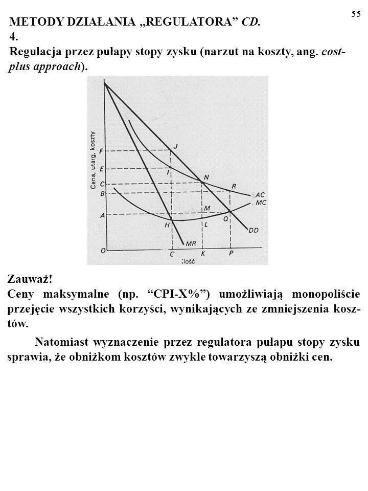 54 METODY DZIAŁANIA REGULATORA CD. 4. Regulacja przez pułapy stopy zysku (narzut na koszty, ang. cost- plus approach). 54 Regulator pozwala regulowane