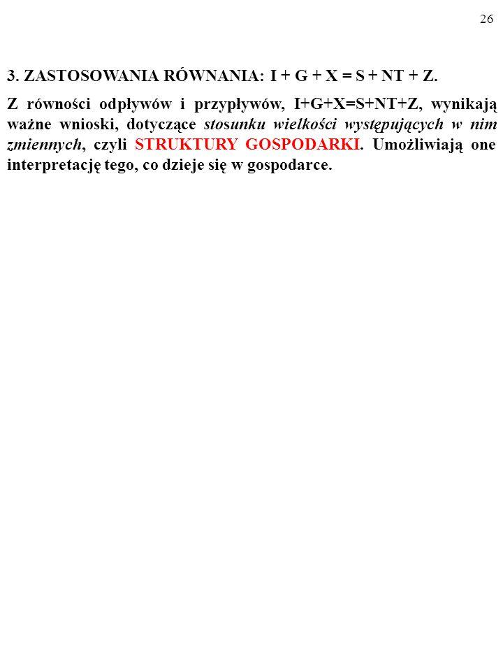 25 W modelu ruchu okrężnego odpływy ZAWSZE równają się przypły- wom: (1) Y 1 = C + I + G + X – Z. (2) Y 1 = Y 2. I + G + X = S + NT + Z. (3) Y 2 = S +