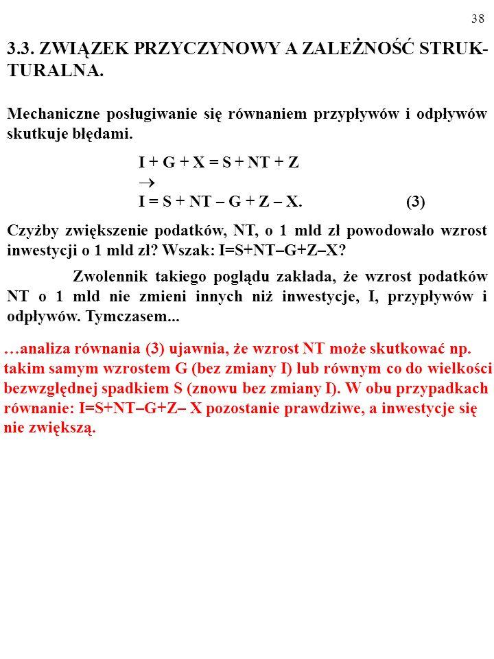 37 3.3. ZWIĄZEK PRZYCZYNOWY A ZALEŻNOŚĆ STRUK- TURALNA. Mechaniczne posługiwanie się równaniem przypływów i odpływów skutkuje błędami. I + G + X = S +