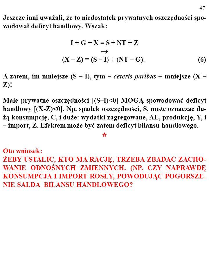 46 Jeszcze inni uważali, że to niedostatek prywatnych oszczędności spo- wodował deficyt handlowy. Wszak: I + G + X = S + NT + Z (X – Z) = (S – I) + (N