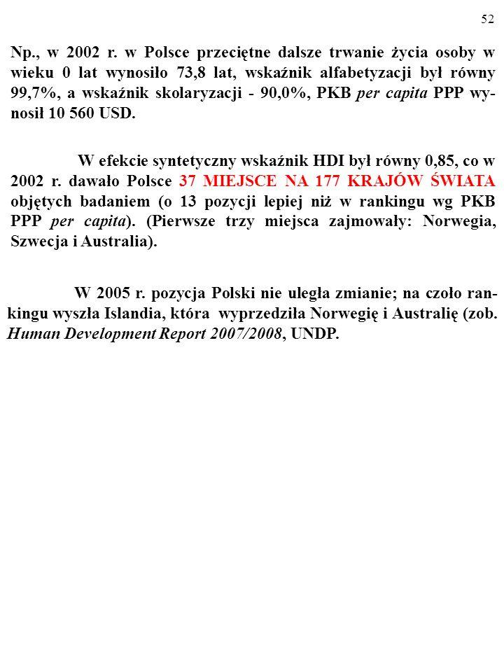 51 1. LEI = (LE-25)/(85-25). 2. EI = wskaźnik alfabetyzacji + wskaźnik skolaryzacji. 3. II = [log(PKB per capita PPP $)-log(100)]/[log(40 000)-log(100