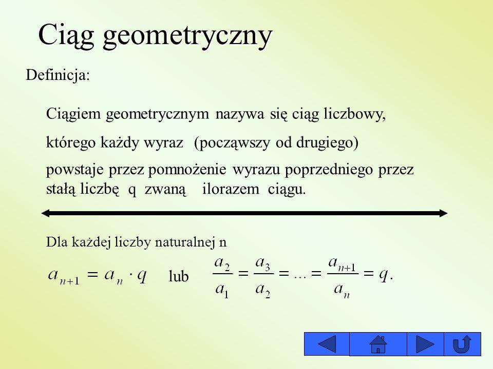 Ciąg geometryczny Definicja: Ciągiem geometrycznym nazywa się ciąg liczbowy, którego każdy wyraz(począwszy od drugiego) powstaje przez pomnożenie wyra
