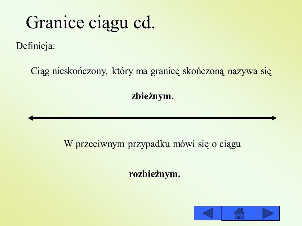 Granice ciągu cd. Definicja: Ciąg nieskończony, który ma granicę skończoną nazywa się W przeciwnym przypadku mówi się o ciągu zbieżnym. rozbieżnym.