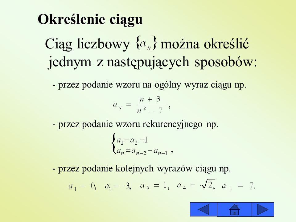 Ciąg liczbowy można określić jednym z następujących sposobów: - przez podanie wzoru rekurencyjnego np. - przez podanie kolejnych wyrazów ciągu np. - p