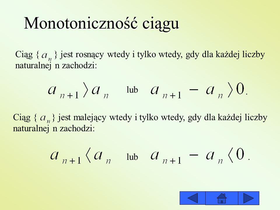 Ograniczoność ciągu Ciąg { } jest ograniczony z góry wtedy i tylko wtedy, gdy istnieje taka liczba B, że każdy wyraz ciągu: Ciąg { } jest ograniczony z dołu wtedy i tylko wtedy, gdy istnieje taka liczba A, że każdy wyraz ciągu: Ciąg { } jest ograniczony wtedy i tylko wtedy, gdy istnieją takie liczby A i B (A<B), że każdy wyraz ciągu: