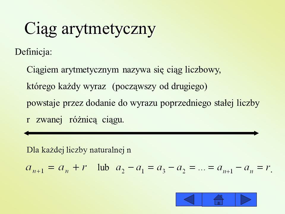 Ciąg arytmetyczny Definicja: Ciągiem arytmetycznym nazywa się ciąg liczbowy, którego każdy wyraz(począwszy od drugiego) powstaje przez dodanie do wyra