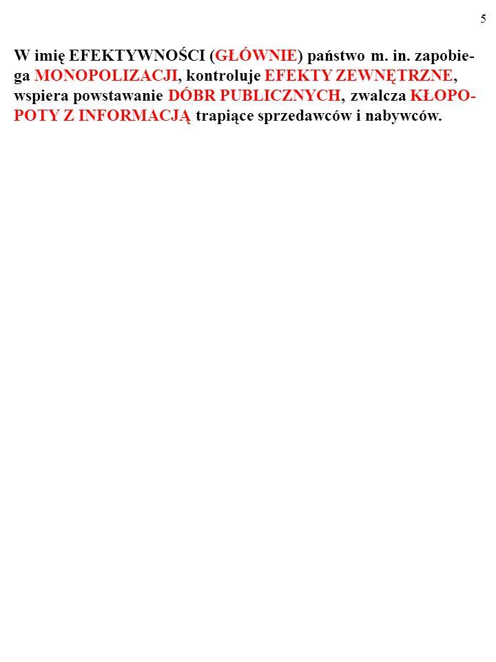 65 METODY DZIAŁANIA REGULATORA CD.5. Zmiany organizacyjne: podział monopolisty (np.