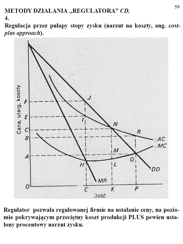 58 METODY DZIAŁANIA REGULATORA CD. 3. Regulacja przez motywację (ang. incentive regulation). Np. OFTEL i formuła: CPI-X% (3%, 4,5%, 6,25%); OF- WAT i