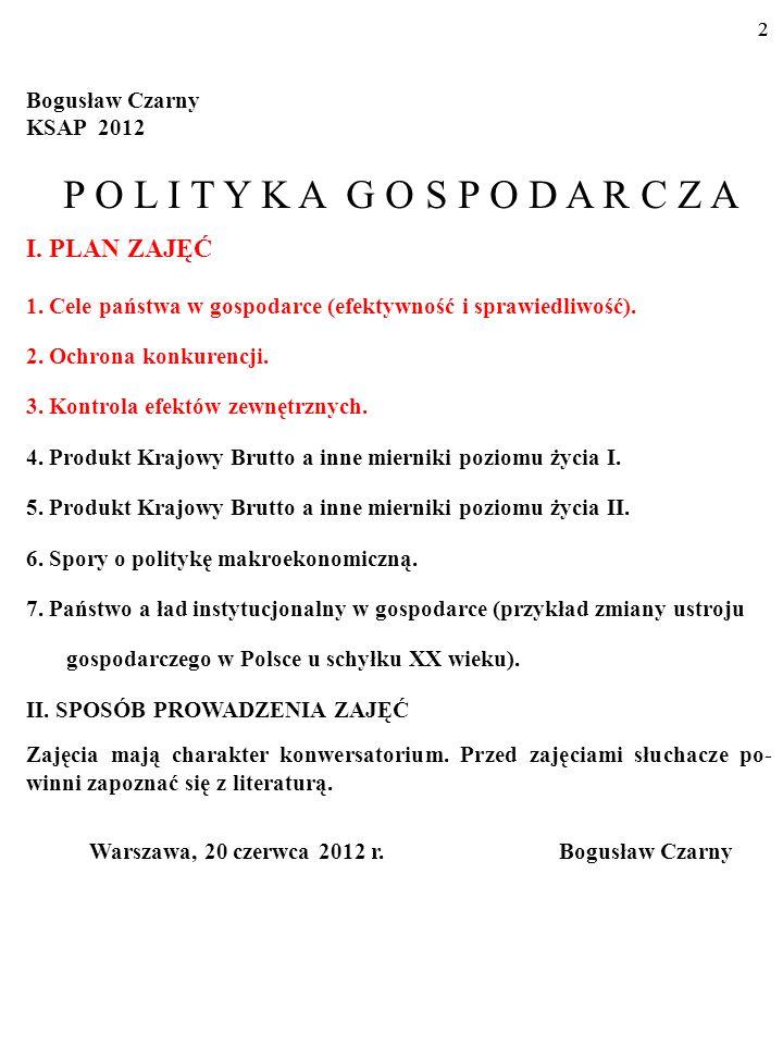 22 Bogusław Czarny KSAP 2012 P O L I T Y K A G O S P O D A R C Z A I.