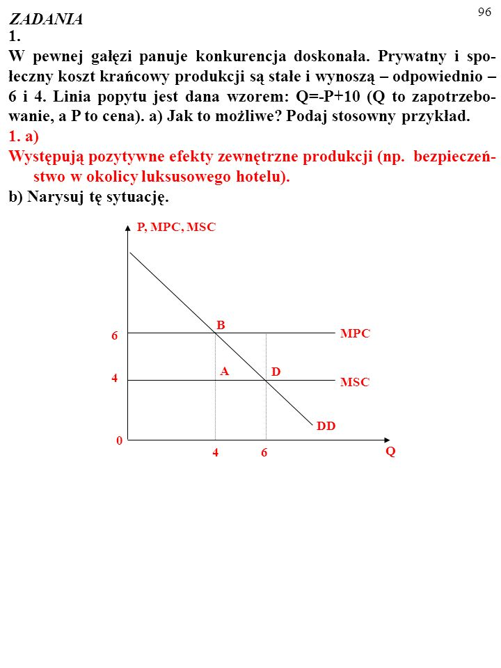 95 ZADANIA 1. W pewnej gałęzi panuje konkurencja doskonała. Prywatny i spo- łeczny koszt krańcowy produkcji są stałe i wynoszą – odpowiednio – 6 i 4.