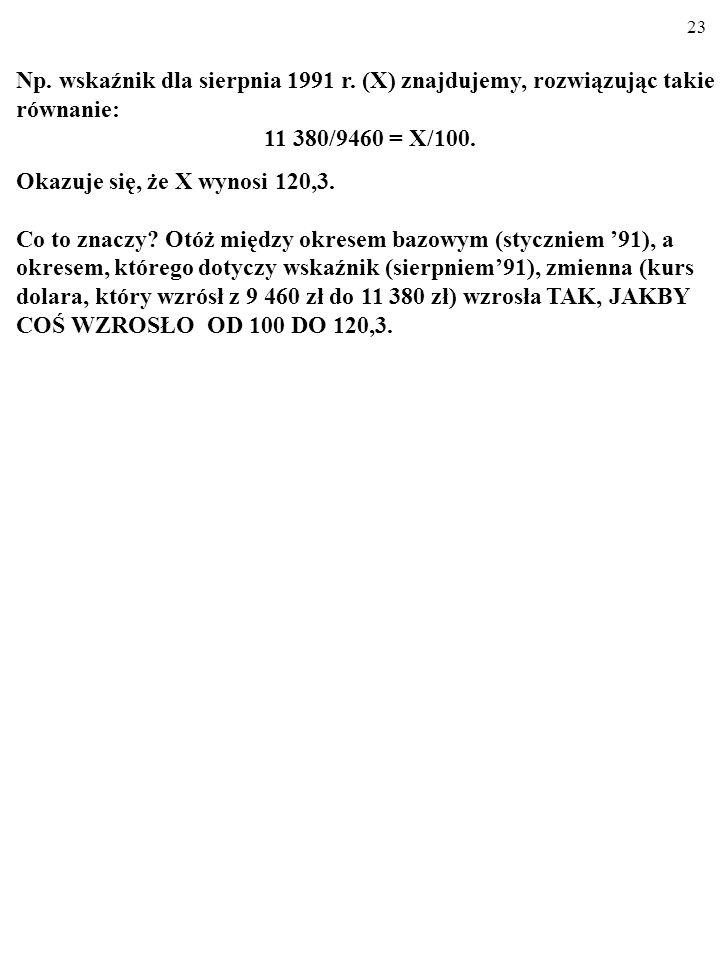 22 Np.wskaźnik dla sierpnia 1991 r.