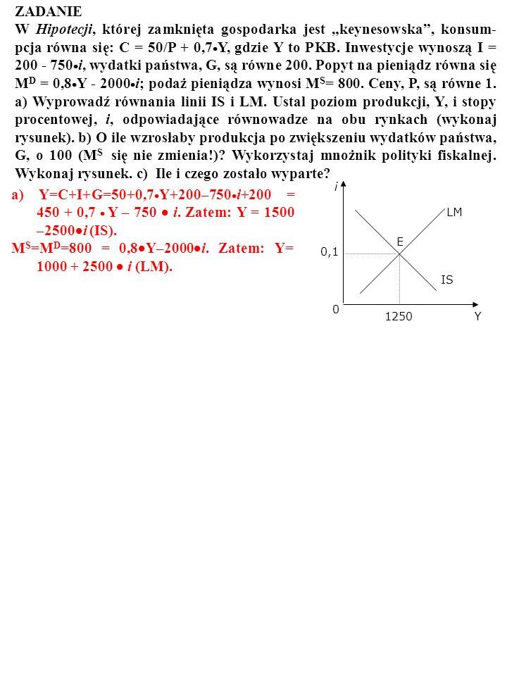 ZADANIE W Hipotecji, której zamknięta gospodarka jest keynesowska, konsum- pcja równa się: C = 50/P + 0,7 Y, gdzie Y to PKB. Inwestycje wynoszą I = 20