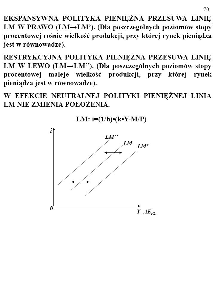 69 EKSPANSYWNA jest polityka gospodarcza, której celem jest zwiększenie zagregowanych wydatków, AE PL, w gospodarce. RESTRYKCYJNA jest polityka gospod