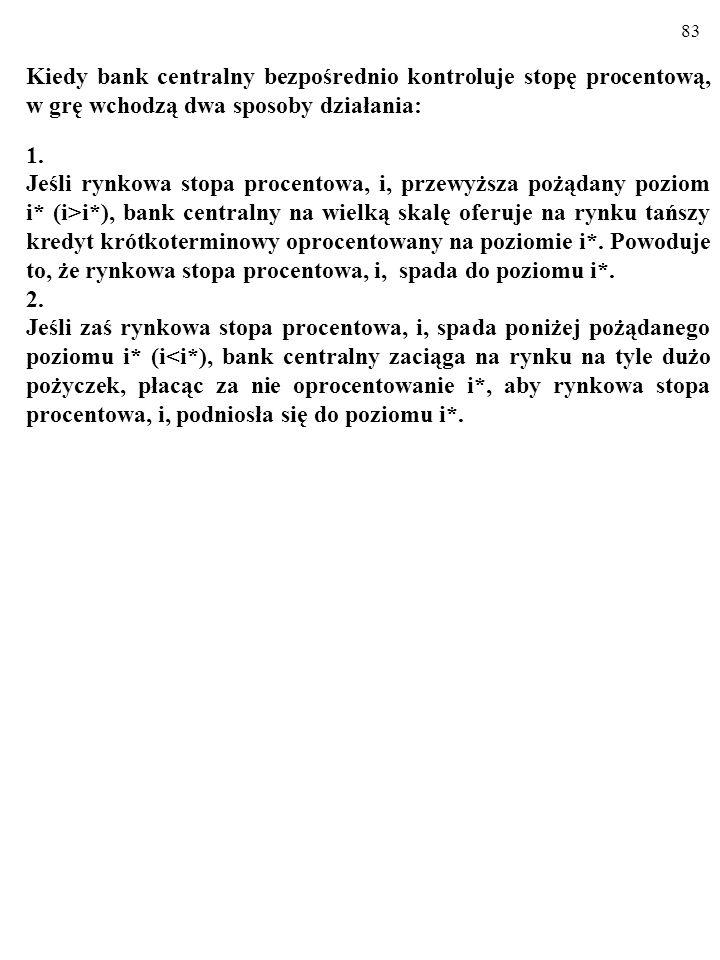 82 Jak pamiętamy ze standardowego wykładu podstaw ekonomii, prowadząc politykę pieniężną, bank centralny za pomocą operacji otwartego rynku, stopy dys