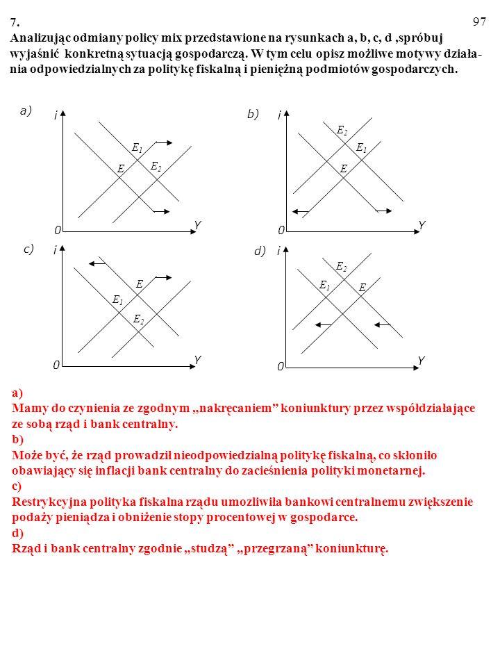 96 6. a) Wyjaśnij, w jaki sposób na nachylenie linii IS wpłynie: (i) Zwiększenie się mnoż- nika. (ii) Zmniejszenie się wrażliwości inwestycji na zmian