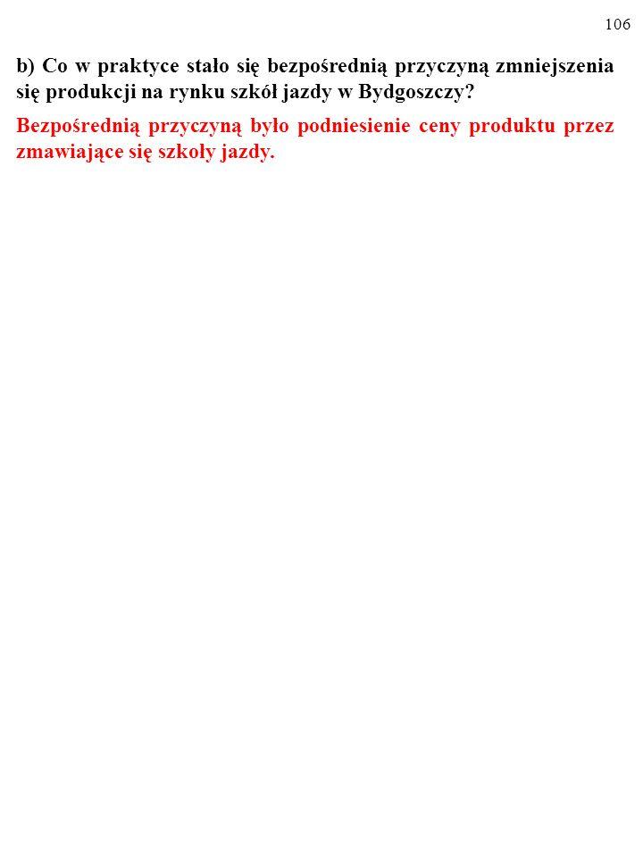 105 b) Co w praktyce stało się bezpośrednią przyczyną zmniejszenia się produkcji na rynku szkół jazdy w Bydgoszczy?