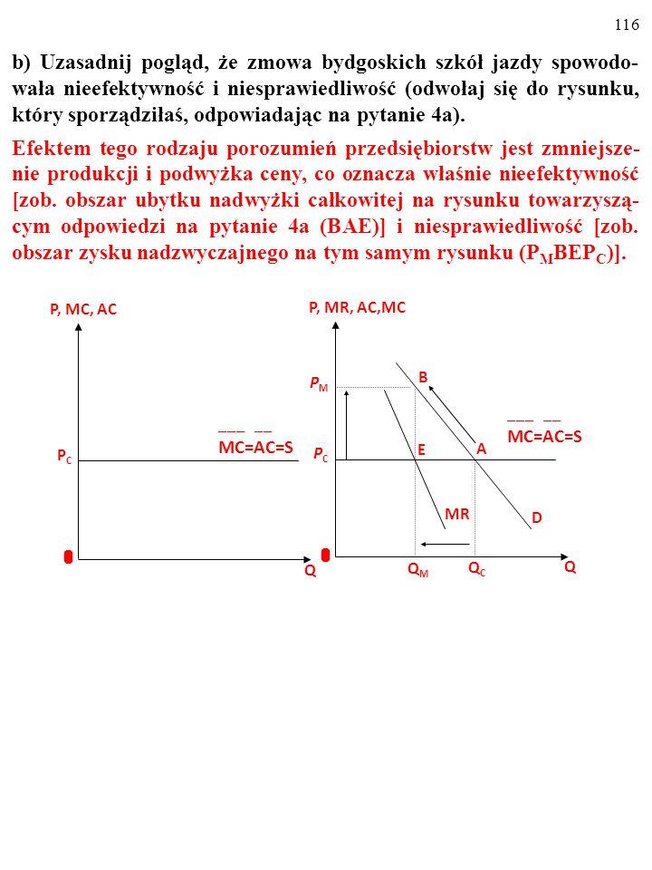 115 b) Uzasadnij pogląd, że zmowa bydgoskich szkół jazdy spowodo- wała nieefektywność i niesprawiedliwość (odwołaj się do rysunku, który sporządziłaś,