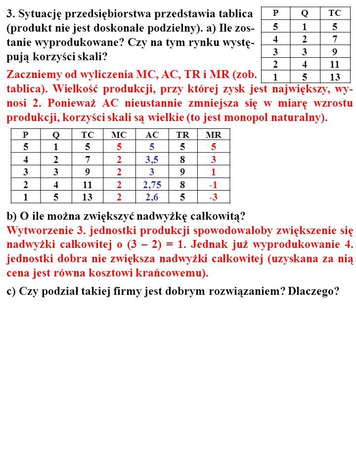 PQTC 515 427 339 2411 1513 PQTCMCACTRMR 5155555 42723,583 3392391 241122,758 151322,65-3 3. Sytuację przedsiębiorstwa przedstawia tablica (produkt nie