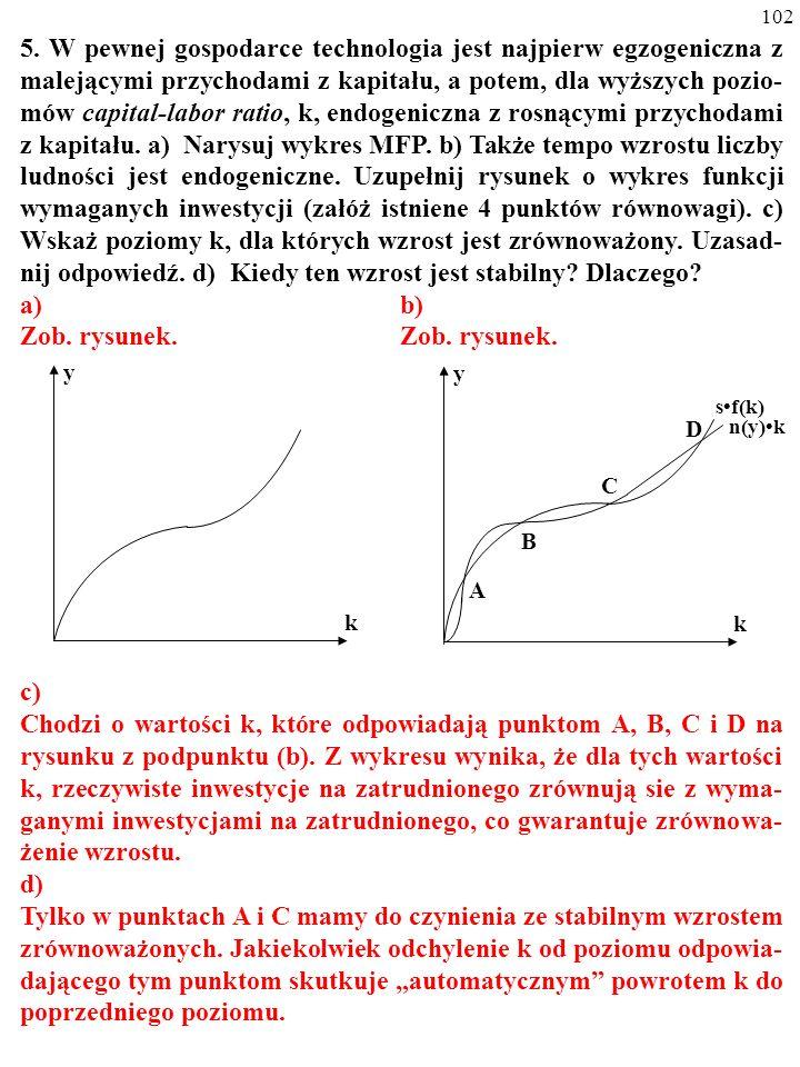 101 4. Oto MFP: y=A k a ; y to produkcyjność pracy, A to stała równa 2, a równa się 1/2, a k to współczynnik kapitał/praca. Tempo wzrostu liczby ludno
