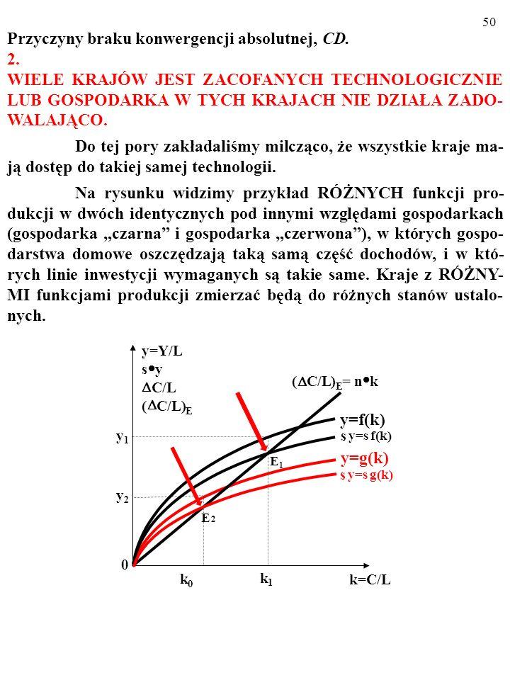 49 Przyczyny braku konwergencji absolutnej: 1. Małe oszczędnosci i inwestycje? TO JEST MAŁO PRAWDOPO- DOBNE… Robert E. Lucas (junior) wyliczył, że jeś