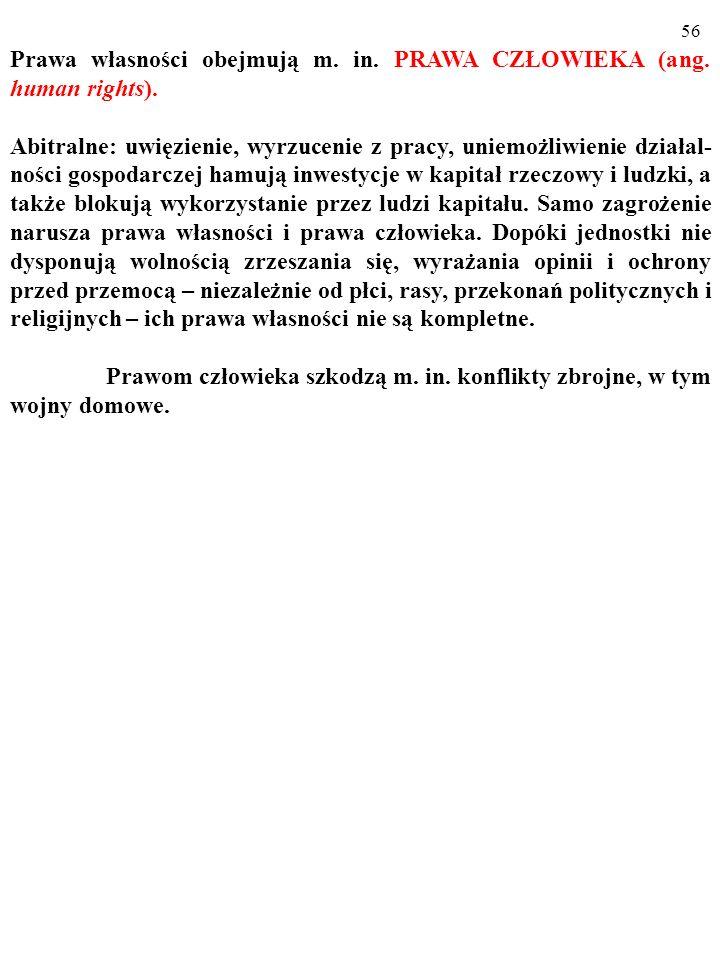 55 BRAKUJĄCE ZASOBY a) KAPITAŁ LUDZKI b) INFRASTRUKTURA PUBLICZNA c) INFRASTRUKTURA SPOŁECZNA Obejmuje ona te miękkie (trudniejsze do jednoznacznego z