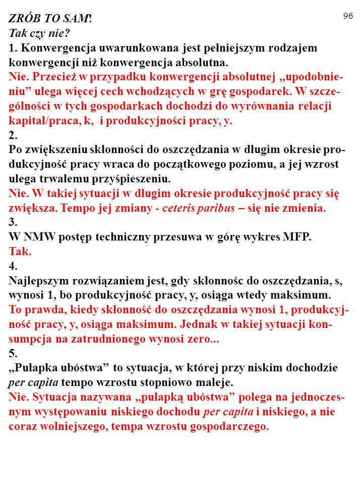 95 WNIOSKI DLA POLITYKÓW GOSPODARCZYCH Zendogenizowanie tempa wzrostu liczby ludności, n, nie zmieniło wniosków, co do metod wspierania wzrostu gospod