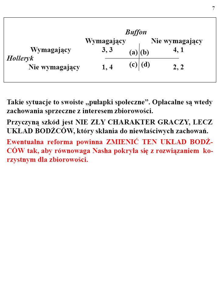 7 Buffon Wymagający Nie wymagający Wymagający 3, 3 4, 1 Holleryk Nie wymagający 1, 4 2, 2 (a)(b) (c) (d) Takie sytuacje to swoiste pułapki społeczne.