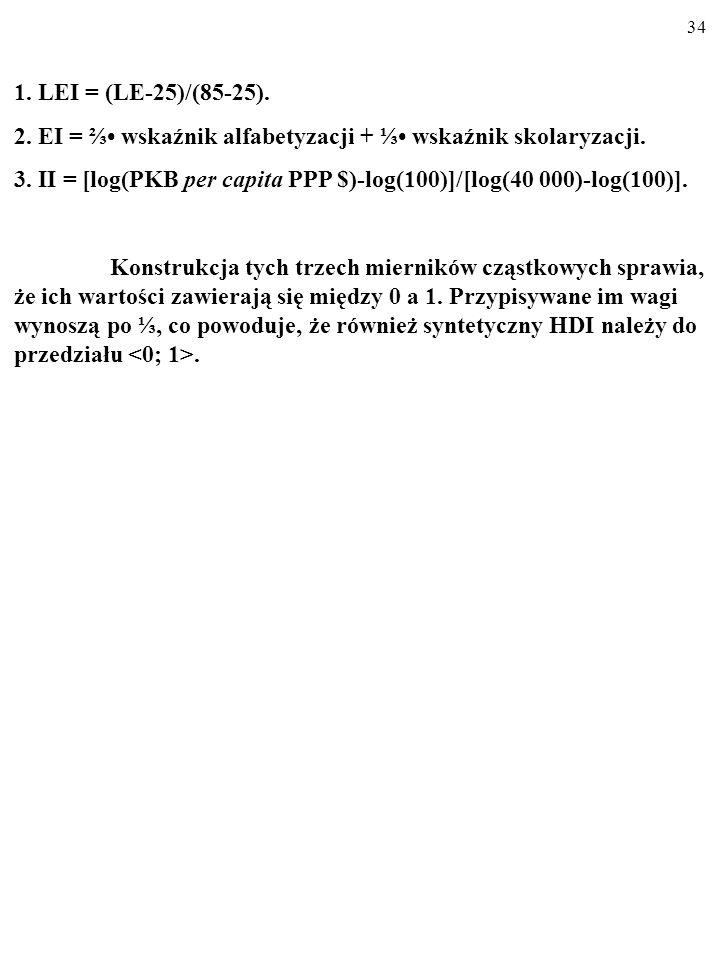 33 II = [log(PKB per capita PPP $)-log(100)]/[log(40 000)-log(100)] Zauważ, że jedną z cech HDI jest podporządkowanie konstrukcji cząstkowego wskaźnik