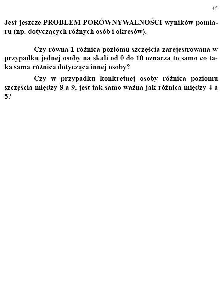 44 OBROŃCY ODPOWIADAJĄ: 2. W dodatku wskazania różnych mierników szczęścia są: a)silnie skorelowane (co czyni je wiarygodnymi); b) pokrywają się z inf