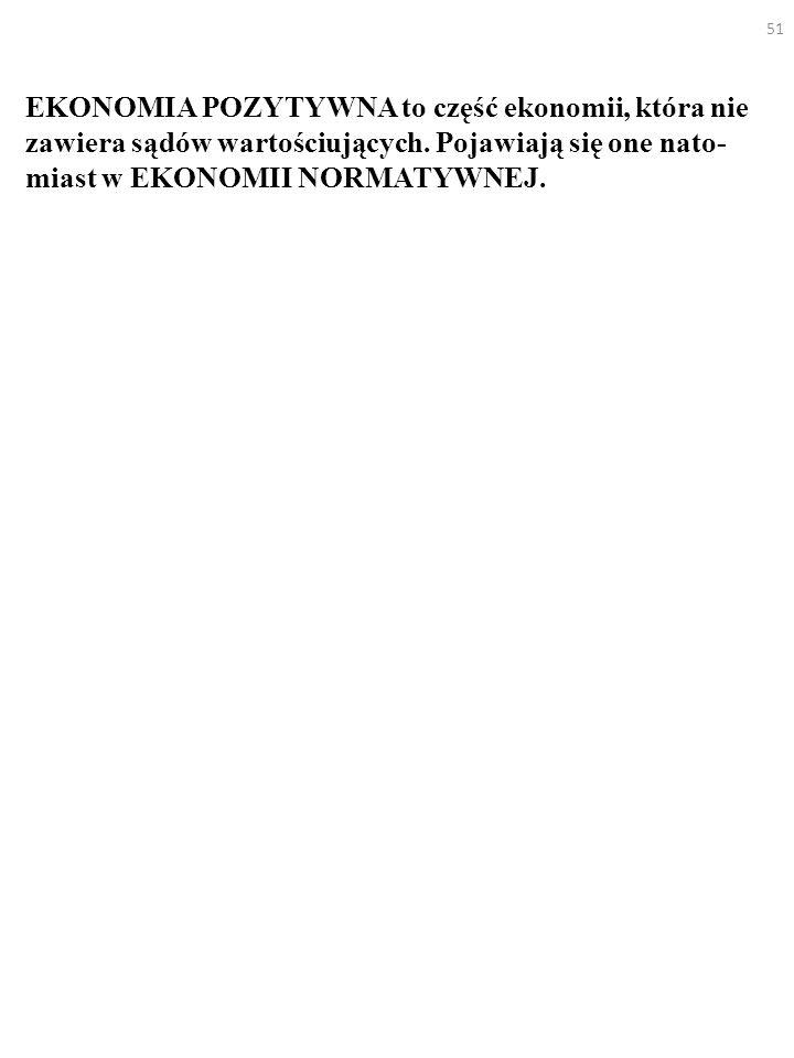 51 EKONOMIA POZYTYWNA to część ekonomii, która nie zawiera sądów wartościujących.