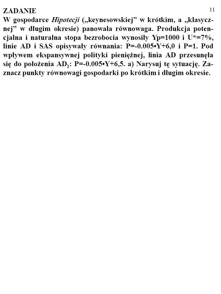 11 ZADANIE W gospodarce Hipotecji (keynesowskiej w krótkim, a klasycz- nej w długim okresie) panowała równowaga.