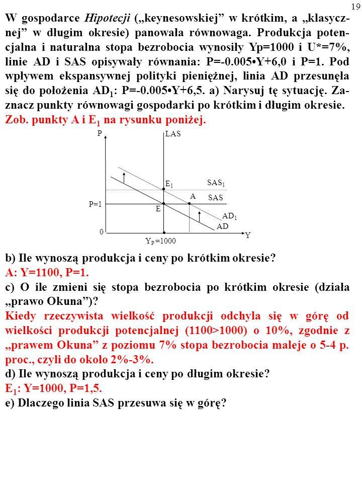 19 W gospodarce Hipotecji (keynesowskiej w krótkim, a klasycz- nej w długim okresie) panowała równowaga.