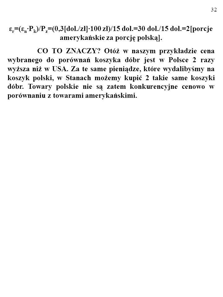 32 ε r =(ε n P k )/P z =(0,3[dol./zł]100 zł)/15 dol.=30 dol./15 dol.=2[porcje amerykańskie za porcję polską].