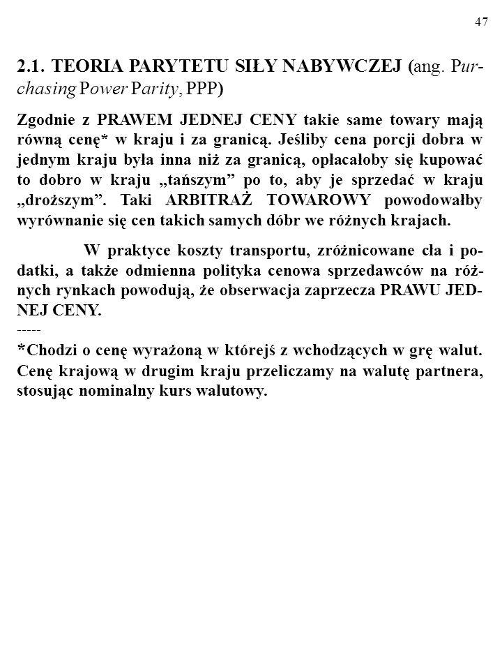 47 2.1.TEORIA PARYTETU SIŁY NABYWCZEJ (ang.