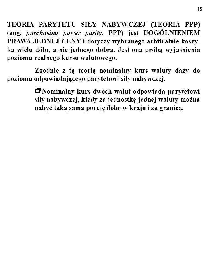 48 TEORIA PARYTETU SIŁY NABYWCZEJ (TEORIA PPP) (ang.