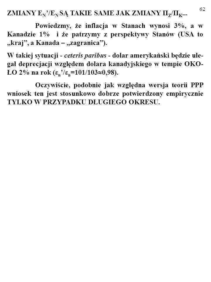 62 ZMIANY Ε N /Ε N SĄ TAKIE SAME JAK ZMIANY Π Z /Π K...